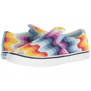 Native Shoes Miles Denim Print White Wash/Shell White/Rainbow Wave